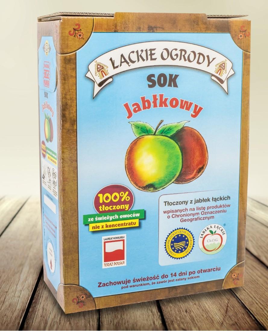 NOWOŚĆ Sok Łąckie Ogrody jabłkowy karton 3l