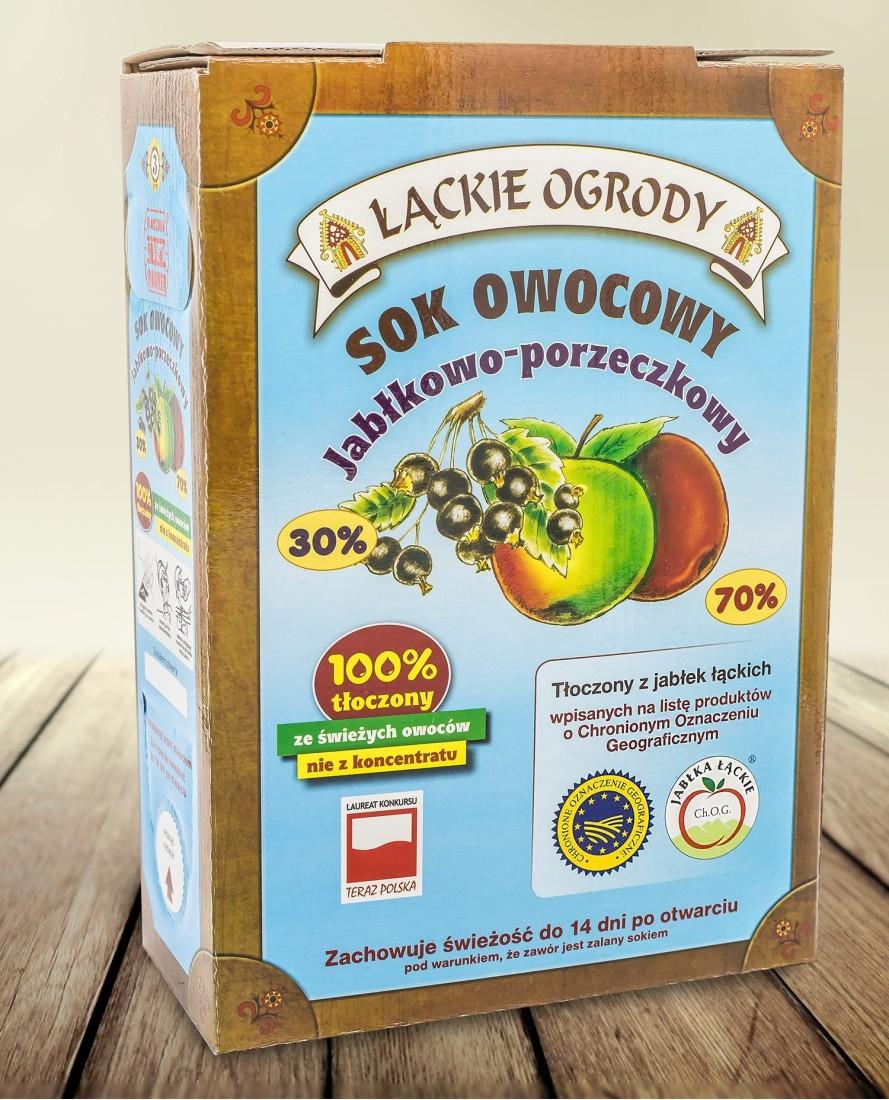 Sok Łąckie Ogrody jabłkowy-porzeczkowy karton 3l