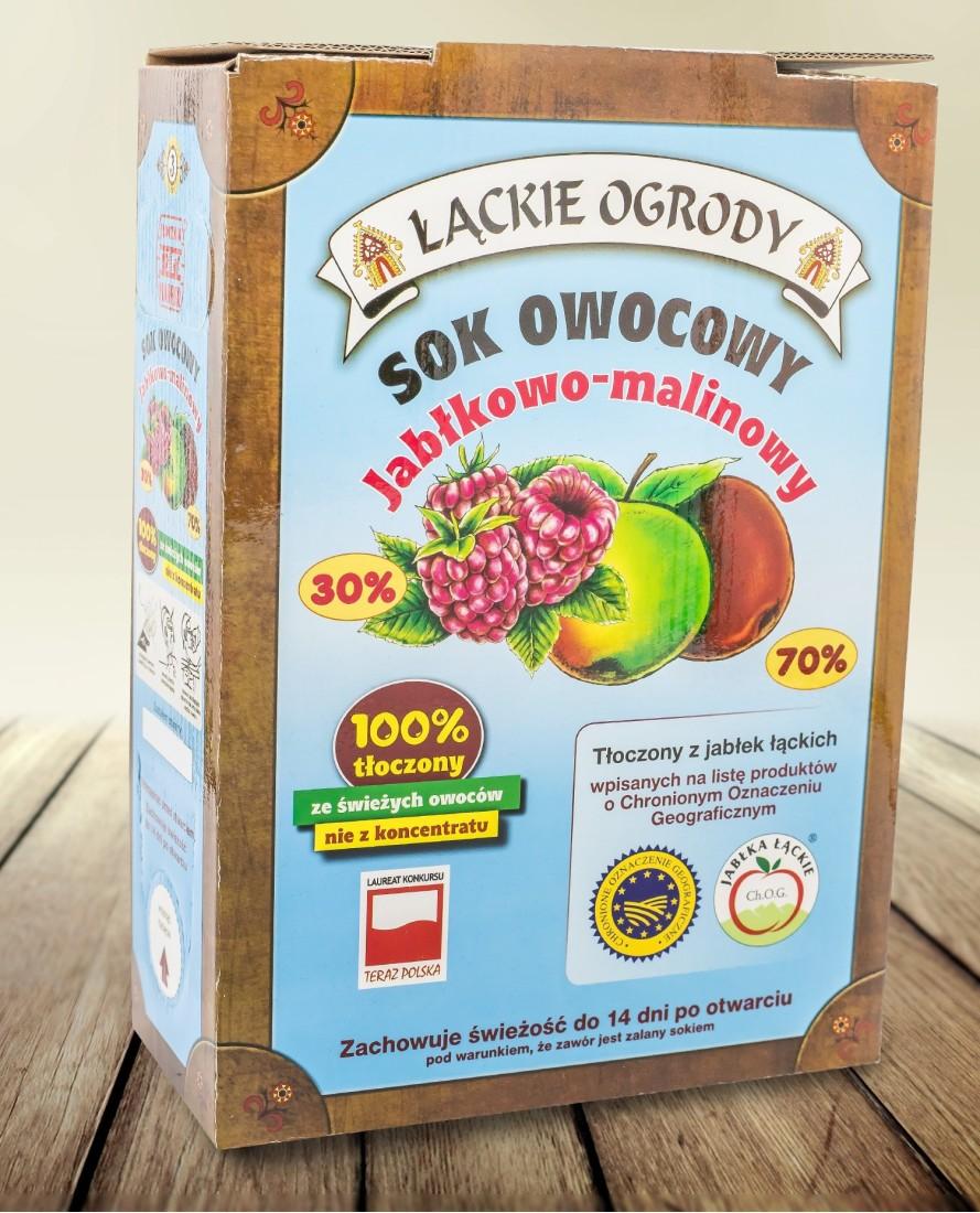Sok Łąckie Ogrody jabłkowo - more malinowy karton 3l