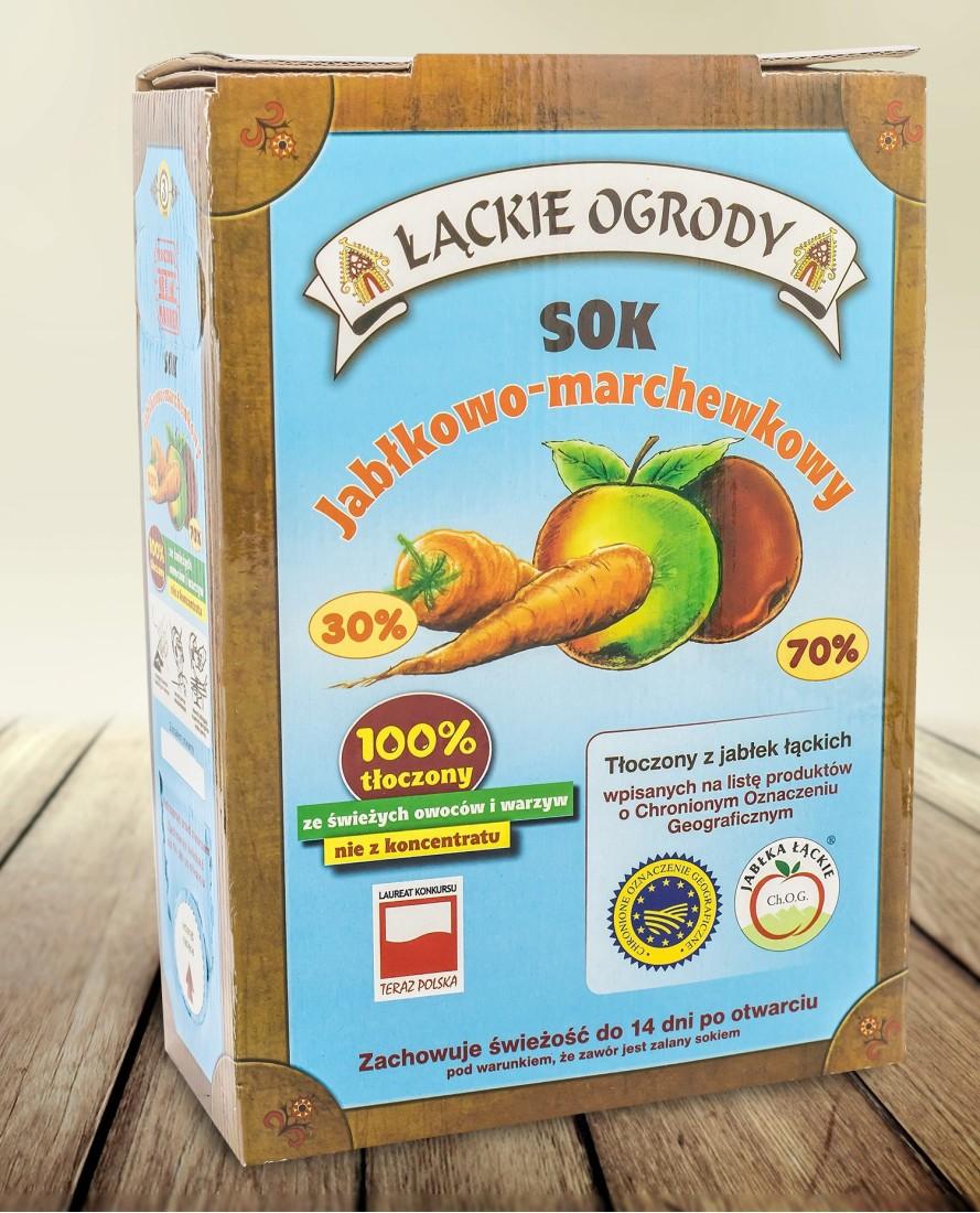 Sok Łąckie Ogrody jabłkowo - marchewkowy karton 3l