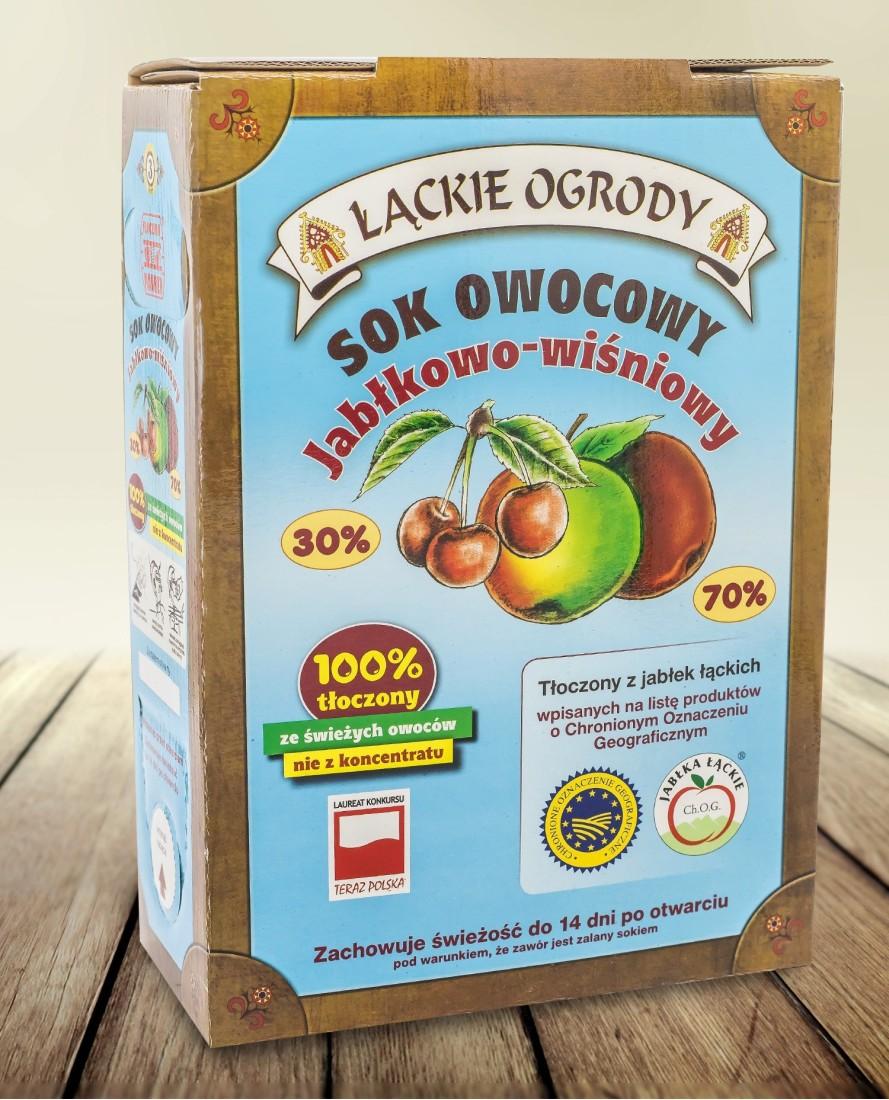 Sok Łąckie Ogrody jabłkowo-wiśniowy karton 3l