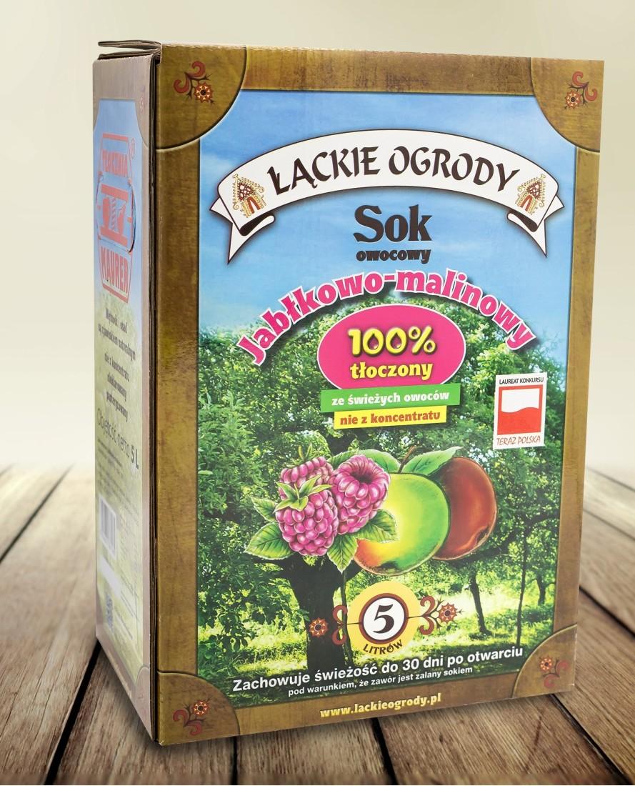 Sok Łąckie Ogrody jabłkowo - malinowy karton 5l