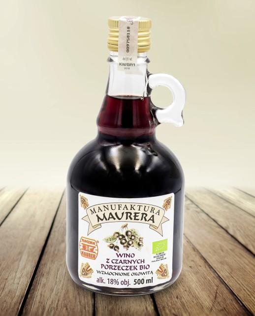 Wino czarna porzeczka wzmocnone okowitą BIO 500ml